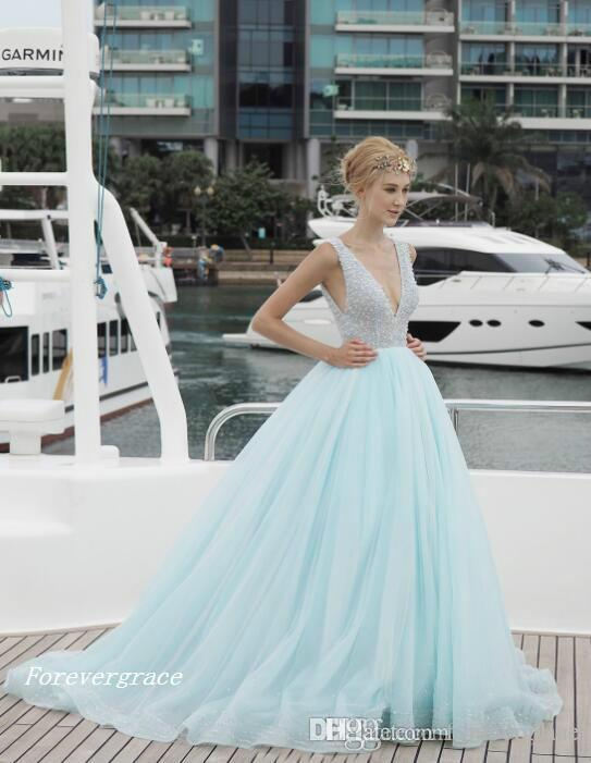 Fashion South African Ice Blue Sexy Prom Dress V-neck Backless Long Formal Evening Party Gown Custom Made Plus Size