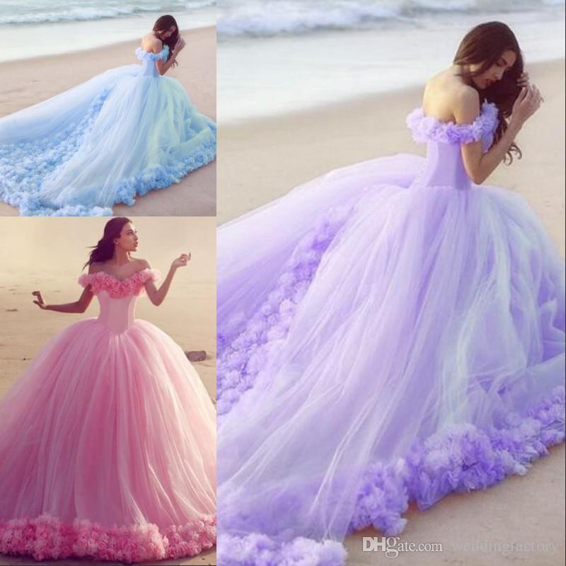 Colorful Ball Gown Style Beach Wedding Dresses Off The Shoulder ...