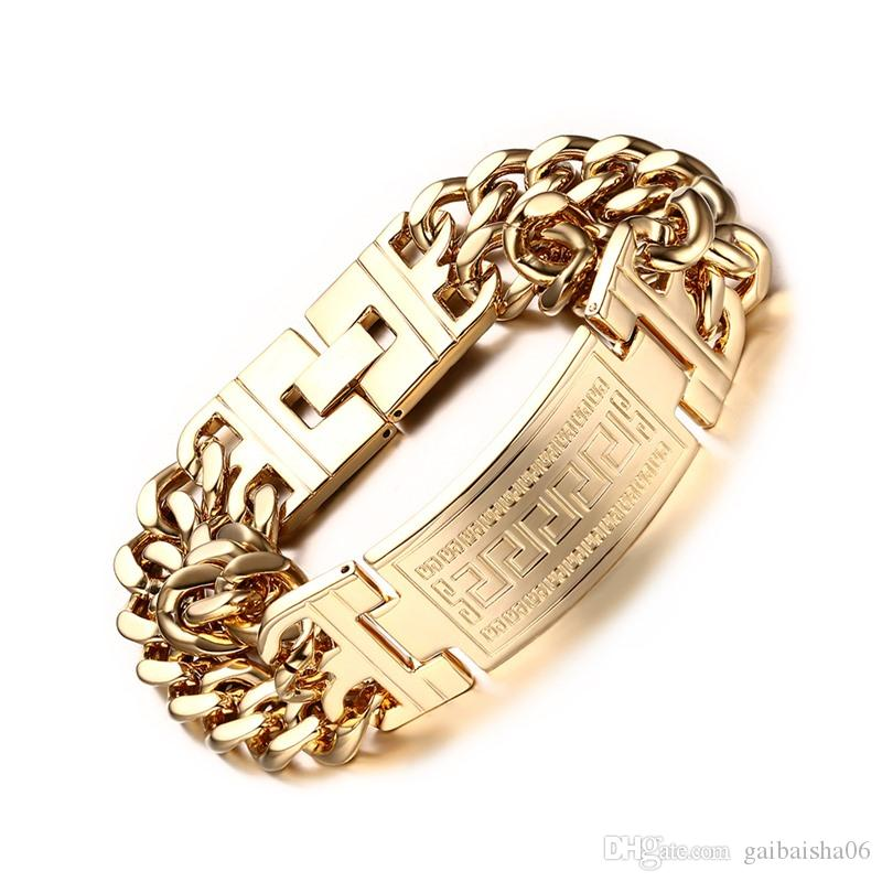 Meaeguet Gold Color Plated Charm Bracelets & Bangles For Men Stainless Steel Jewelry Male Link Chain Bracelets BR-204