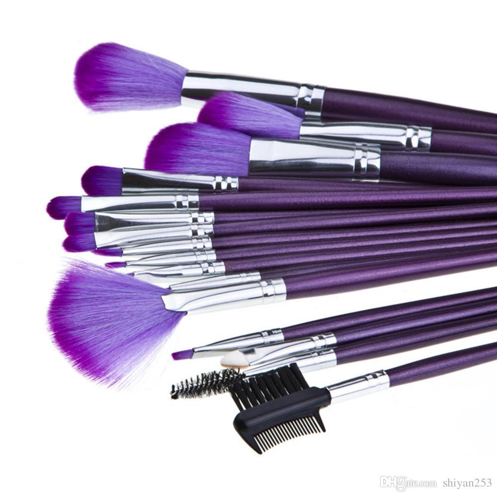 Sıcak satış 16 adet Süper Yumuşak Makyaj Fırçalar Profesyonel Kozmetik Toz Pudra Allık Vakfı Fırça Seti ile Mor PU Kılıf