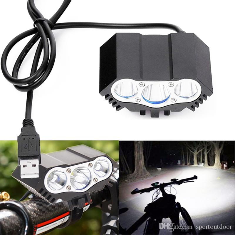 2018 Led Bike Lights 5v Usb Bicycle Headlight 3x T6 Xm L Cree Led