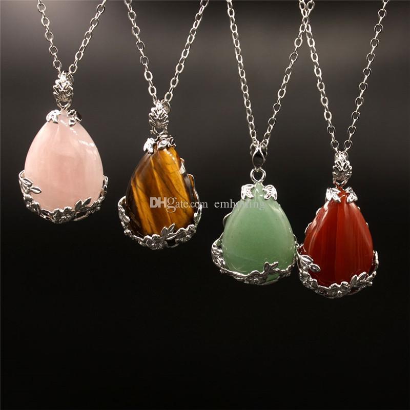 Wholesale Hot Crystal Quartz Teardrop Pendant Pear Shape Rose Quartz Carnelian Single Bail Charm Healing Stone Pendants Necklace for Sale
