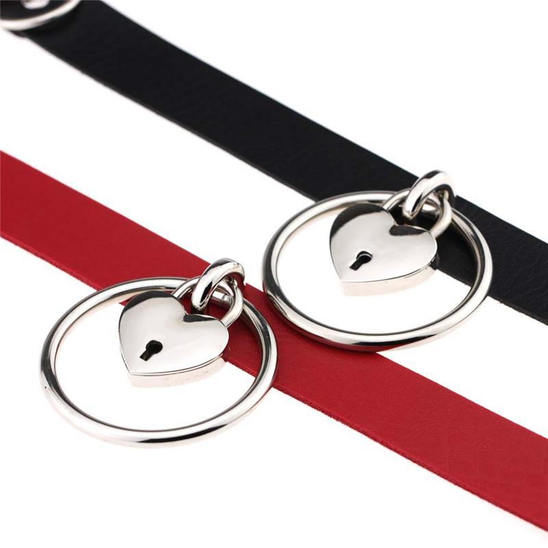 Metal Lock Kalp Ringi Choker Yaka Kolye PU Deri Choker Kolye, Bayan Maxi Takı İçin Anahtarlı 161833