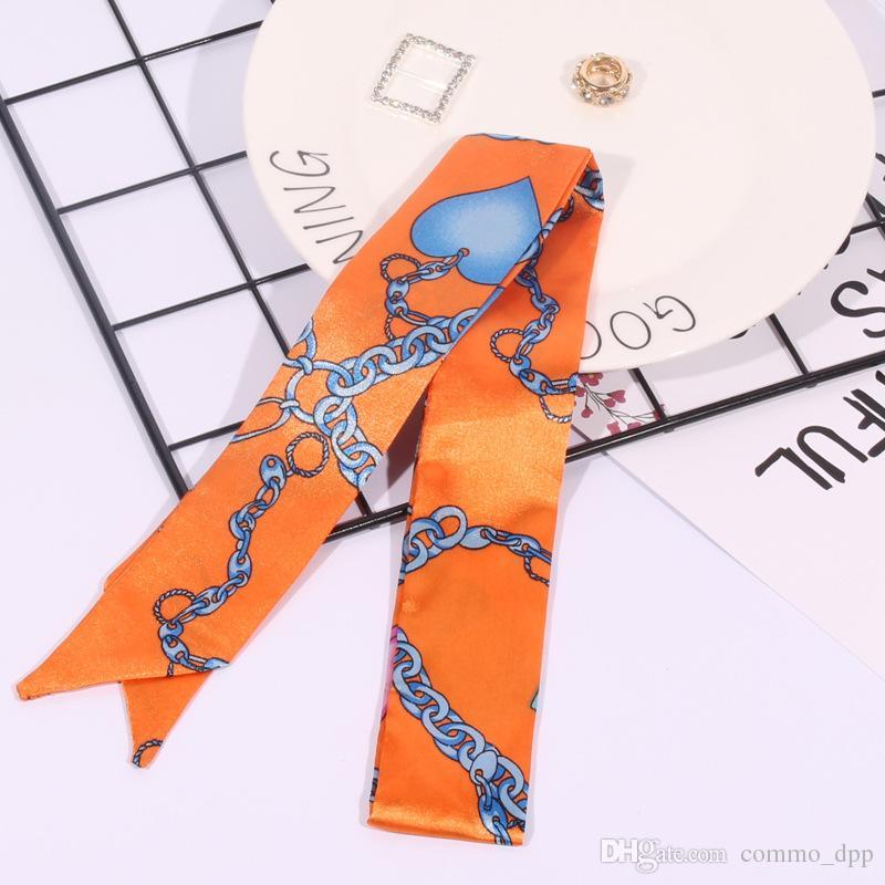 Moda İşlevli Baskı Eşarp Çanta Kolu Için 17 renkler Kafa wrap atkı Şerit kadın türban üçgen kafa Ipek Eşarplar