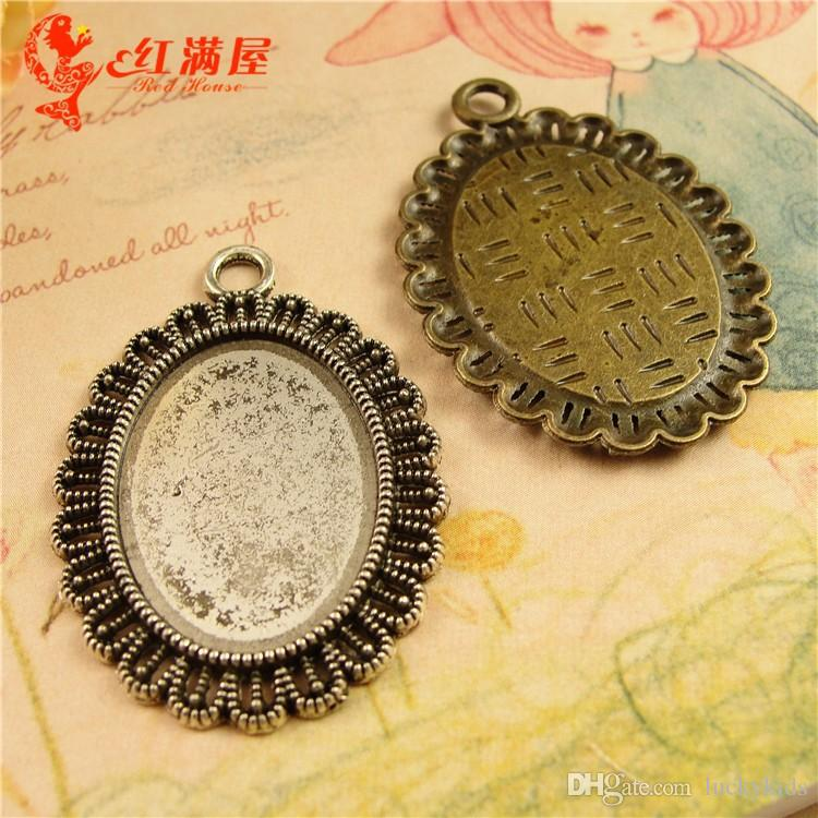 28*39MM Fit 25*18MM Gem bottom bracket retro jewelry accessories, tibetan silver oval cameo setting, vintage cabochon settings