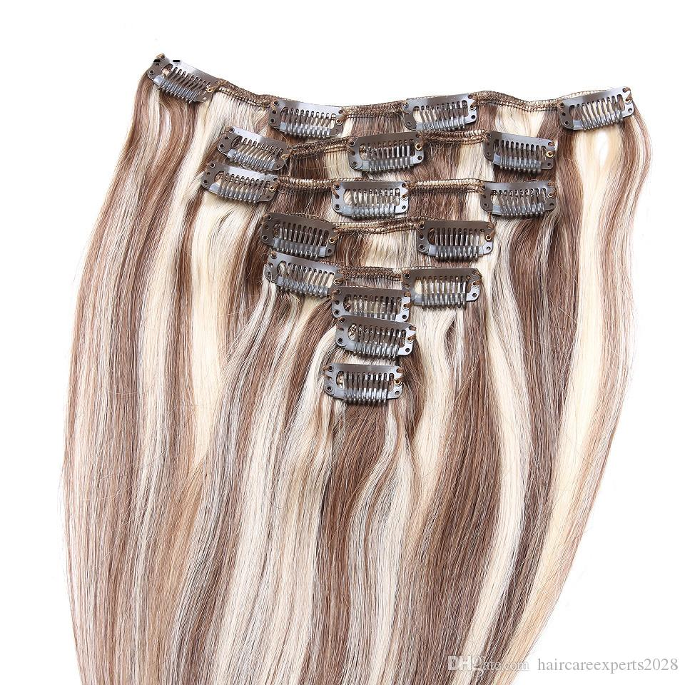 100g chestnut brown highlight blonde clip in hair extensions double weft piano 6/613 clip in human hair extensions