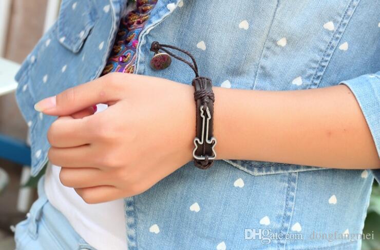 Bracelet Guitar Pattern Alloy Leather Bracelet Jewelry Leather Hand Ring FB050 a Charm Bracelets