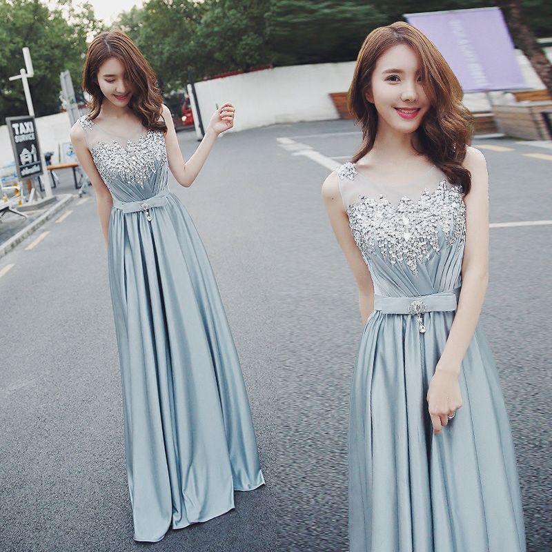 1016876f4063 Hot Sale Elegant Beaded A Line Long Formal Evening Dress Scoop Neckline  Illusion Top Satin Long Prom Bridesmaid Dresses 2018 Chiffon Evening Dresses  Uk ...