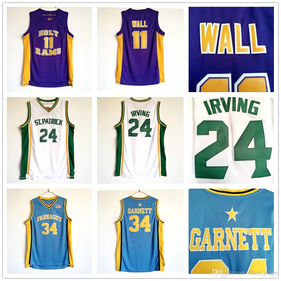 91f76bc0d56 ... High School Basketball Farragut 34 Kevin Garnett Jersey Blue St.  Patrick 24 Kyrie Irving Jersey ...