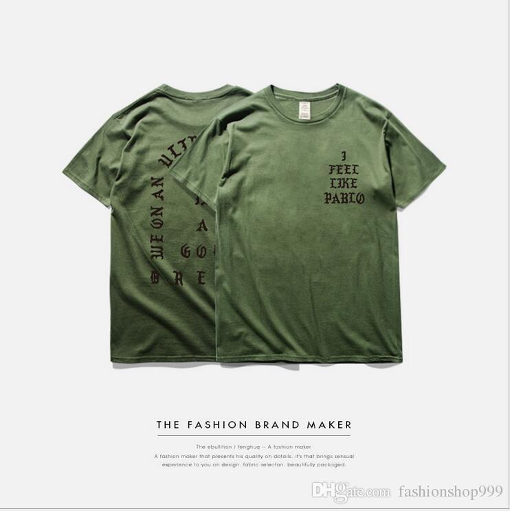 Mens T Shirt SEASON 3 i feel like pablo Tee short Sleeve O-neck T-Shirt Kanye West Letter Print Sportwear