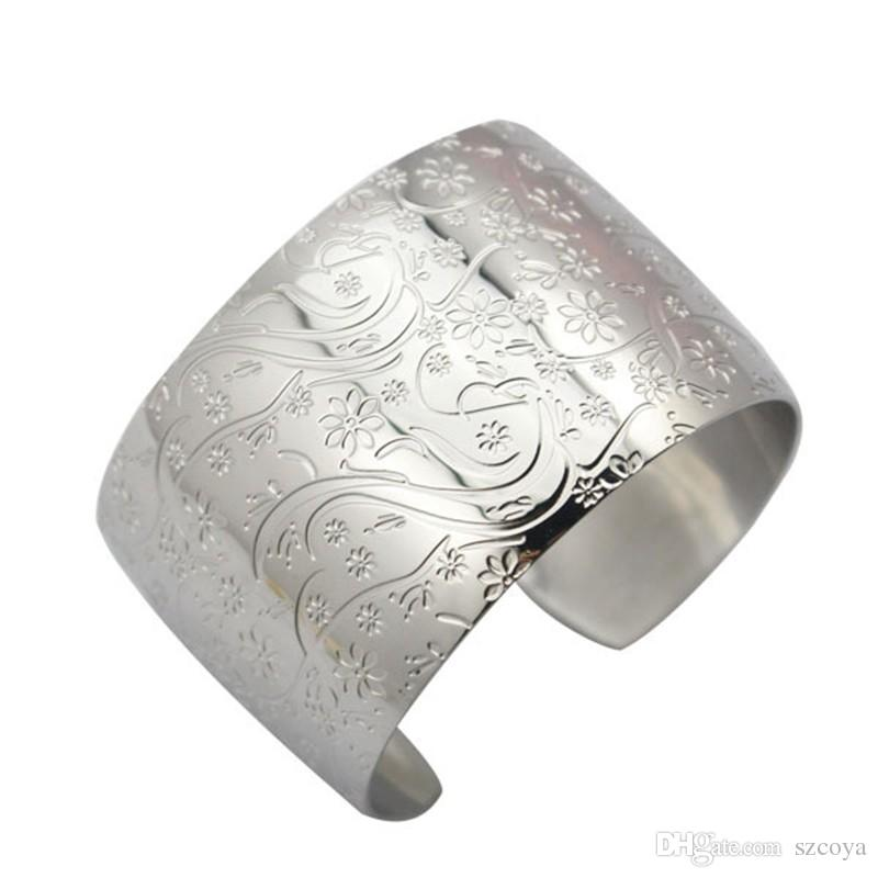 Wide Cuff Bangle Bracelet Unique Design Big Plain Silver Bangles for Women Jewelry Flower Design Opened Cuff Bangles Mirror Polish