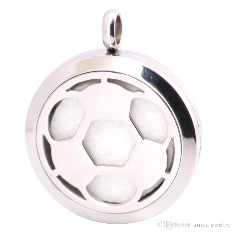 New Pattern Football 30mm Aromatherapy Essential Oil surgical Stainless Steel Necklace Pendant Perfume Diffuser Locket with Chain Pads
