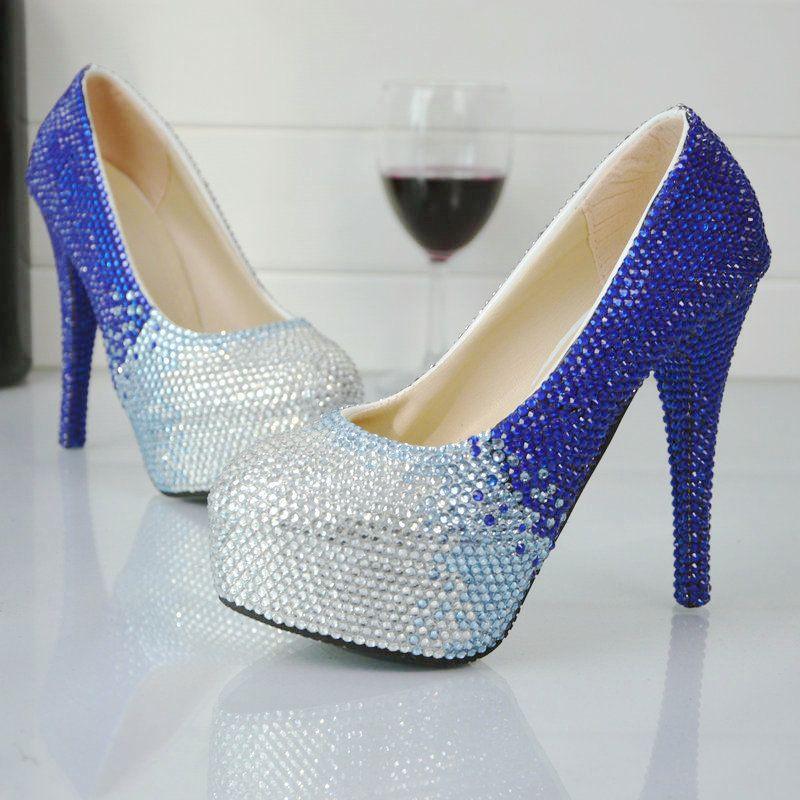 c574d6c54 Sapatos Dakota 2017 Novo Designer Artesanal De Strass Sapatos De Casamento  Azul Com Prata De Cristal De Noiva Sapatos De Festa Lindo Festa De  Formatura ...