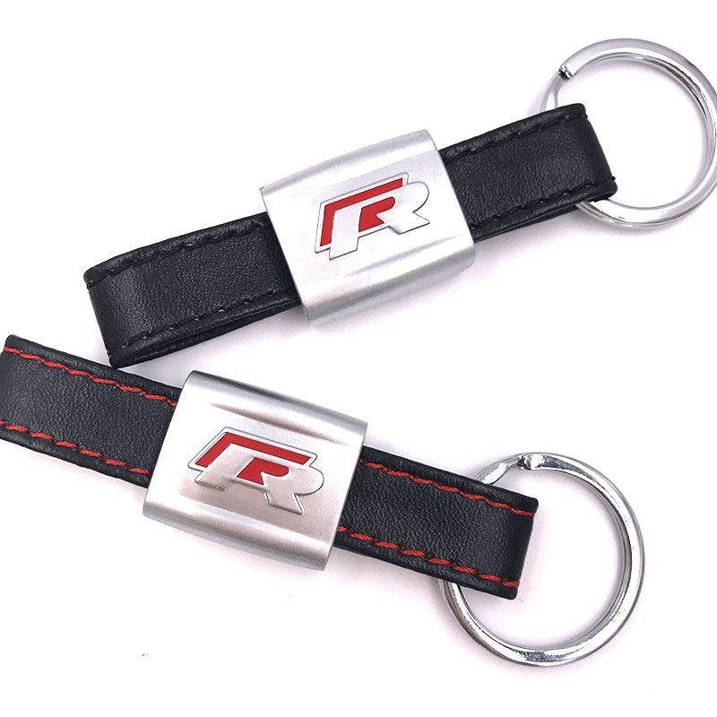 Nouveau Alliage PU Porte-clés en cuir porte-clés Car Logo Noir / Rouge R Line Rline Fit Pour VW Golf Jetta R32 R36 MK6 Porte-clés Car styling