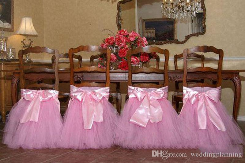 Custom Made Lace Tulle Chair Sashes Party Chair Gauze Back Sash Chair Decoration Covers Party Wedding Suppies