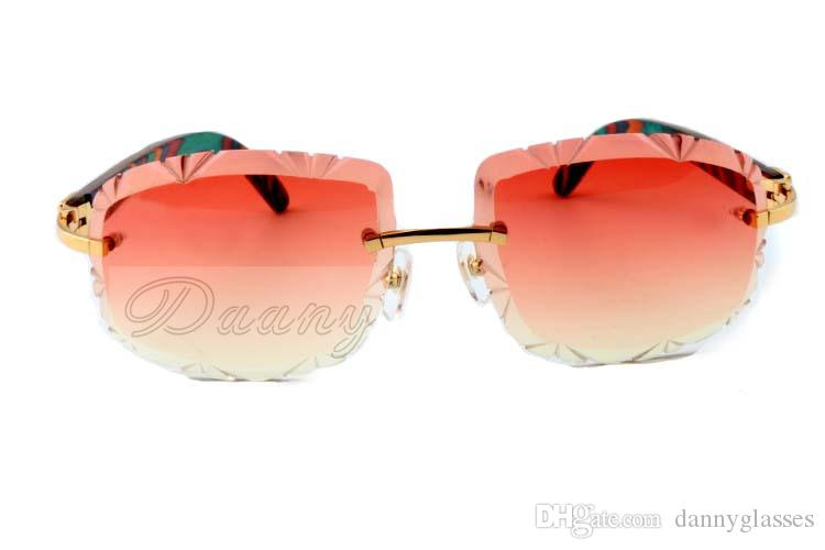 factory direct color sculpture lens, high quality carved sunglasses 8300075 pure natural color peacock legs cool sunglasses, size: 60-18-135