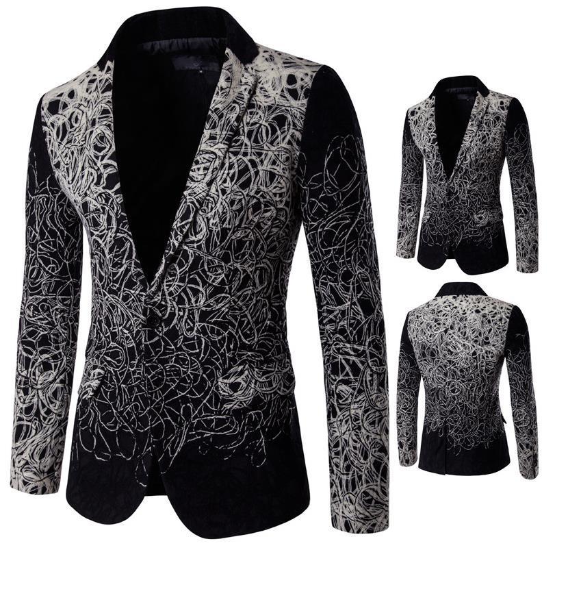 2018 Disa Floret Suits Blazer Men Design Pattern Black ...