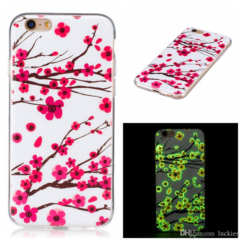 For iPhone 6S ed Drawing Noctilucence Night Light Ultra Thin Soft TPU Glow In The Dark Case For Samsung S6 S7 edge