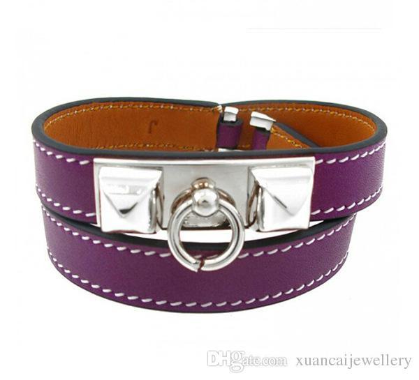 Accessori all'ingrosso due rivetti punk cinturino in pelle vento, doppia rotazione in pelle, bracciale stella, bracciale femminile
