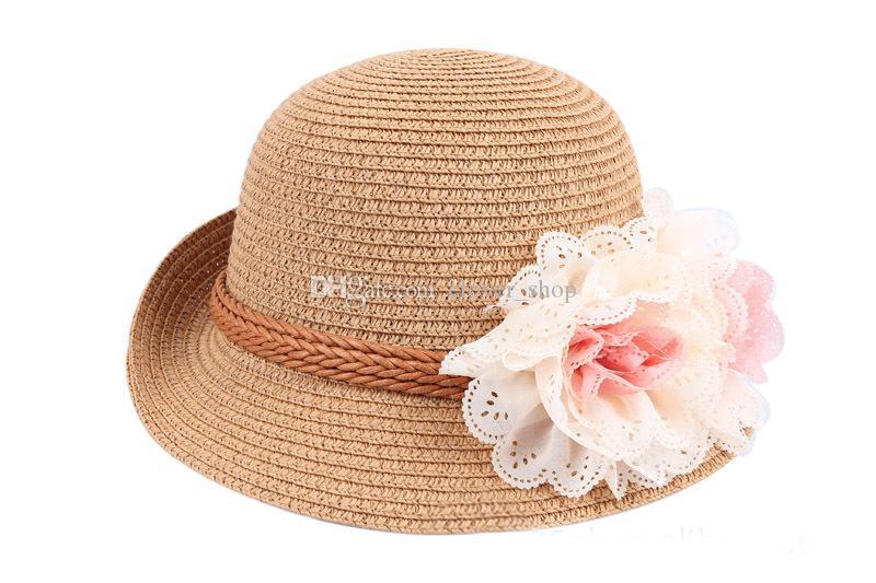 아기 꽃 모자 어린이 짚 Fedora 모자 소녀 태양 모자 어린이 여름 재즈 모자 두 꽃 Sunhat 어린이 비치 모자