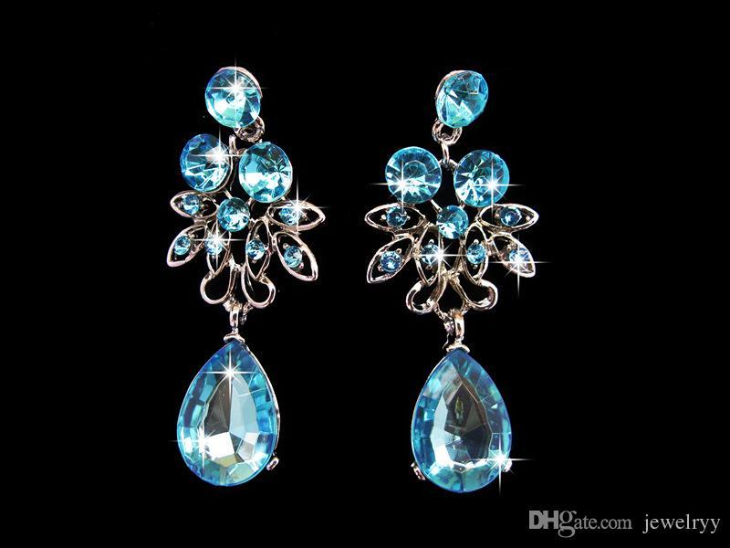 Women Crystal Flower Jewelry Set Luxury Bridal Wedding Jewelry Rhinestone Waterdrop Necklace and Earrings Set for Bride Bridesmaid