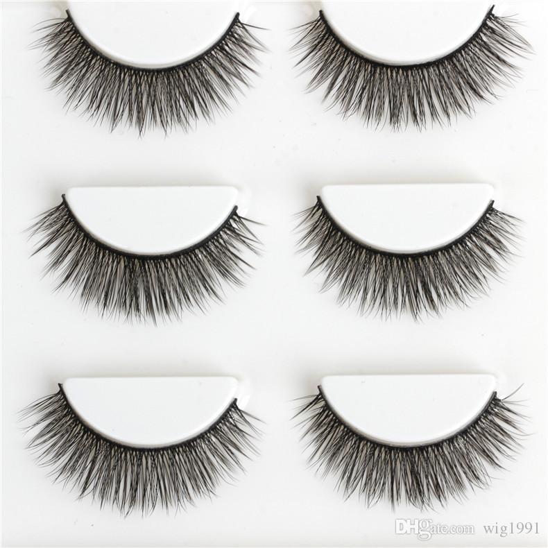 3 пары женщин макияж 100% натуральная норка густые 3D накладные ресницы популярные грязный характер ресницы черный наращивание ресниц ручной работы высокое качество