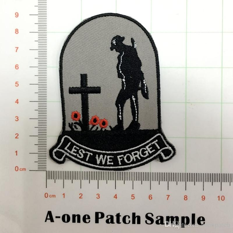 cross souvenir Lest We Forget Embroidered Sew On/Iron On patch for Jacket Jeans Clothing Badge Fabric Sewing