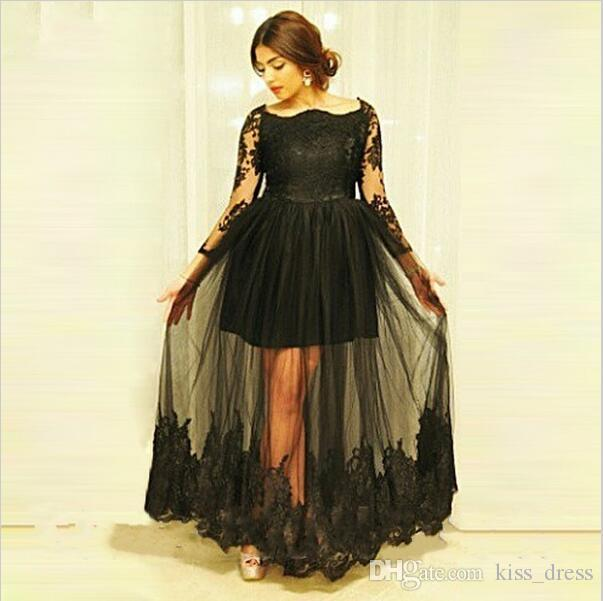2019 Black Lace Prom Dresses 3/4 Long Sleeve Inside short Outside Long Sheer Formal Evening Party Gowns Fashionable Hot Selling New P116