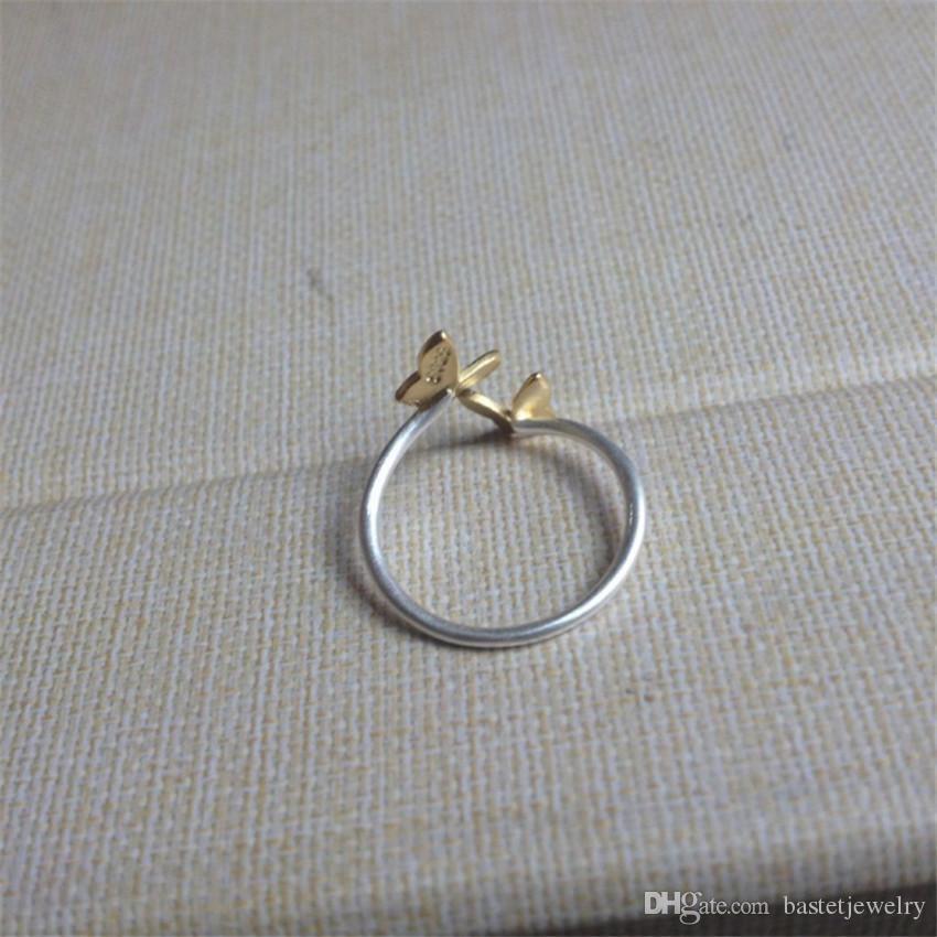 925 Ayar Gümüş Parmak Yüzük Altın Çift Kelebek Açık Halka Midi Pinkie Parmak Toe Yüzükler Anillo Lady Kadınlar Için Noel Hediye Takı