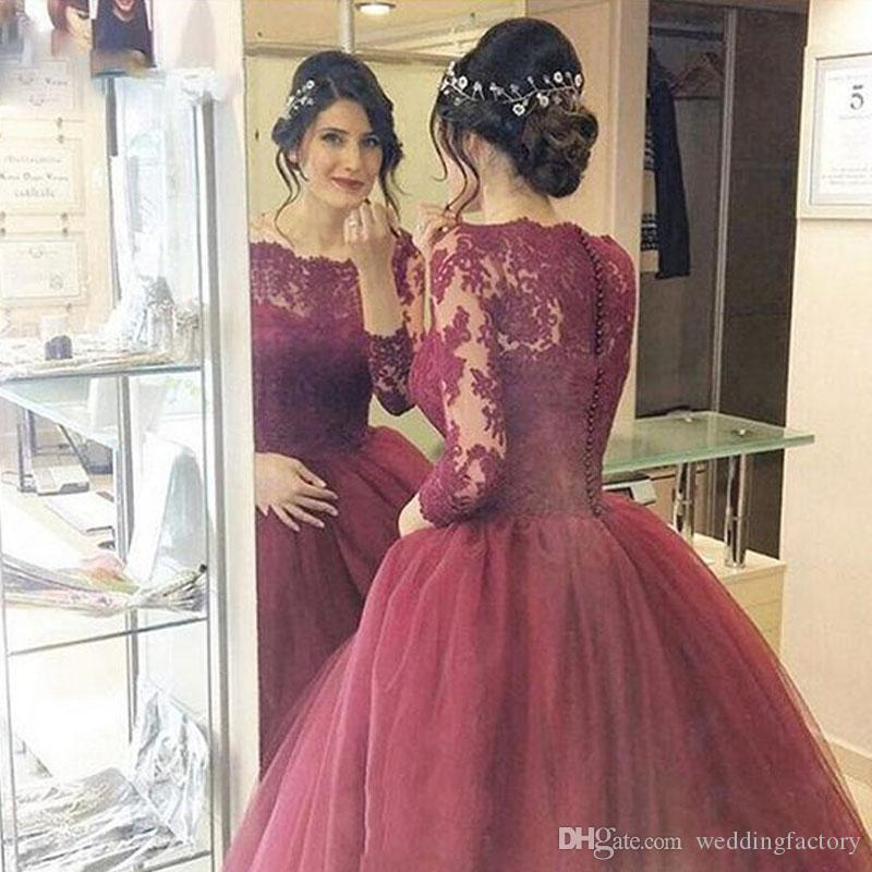 d78c5bf9c8a 2017 Vintage Lace Tulle Ball Gown Prom Dresses Illusion Bateau Neck  Appliqued Sleeves Custom Made Evening Party Gowns Long Formal Wear Knee  Length Prom ...