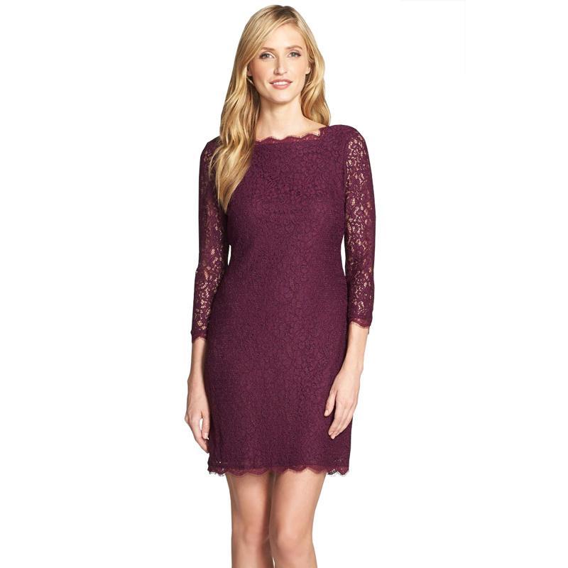 83c332411 Compre Berydress Outono Inverno Mulheres Elegantes Classy 3 4 Sleeve  Wedding Cocktail Zip Voltar Knee Length Vestido De Renda Completa New  Arrival 2017 ...