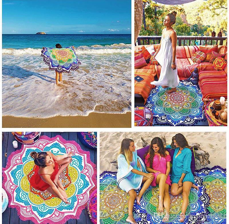Indian Mandala Beach Towel Tassel Printed Tapestry Hippy Boho Tablecloth Bohemian Serviette Covers Beach Shawl Wrap Yoga Mat