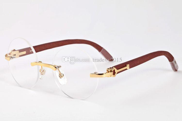 деревянная оправа без оправы женская мужская роскошная винтажная оправа из буйволиного рога Ретро круглые линзы солнцезащитные очки очки с красной коробкой