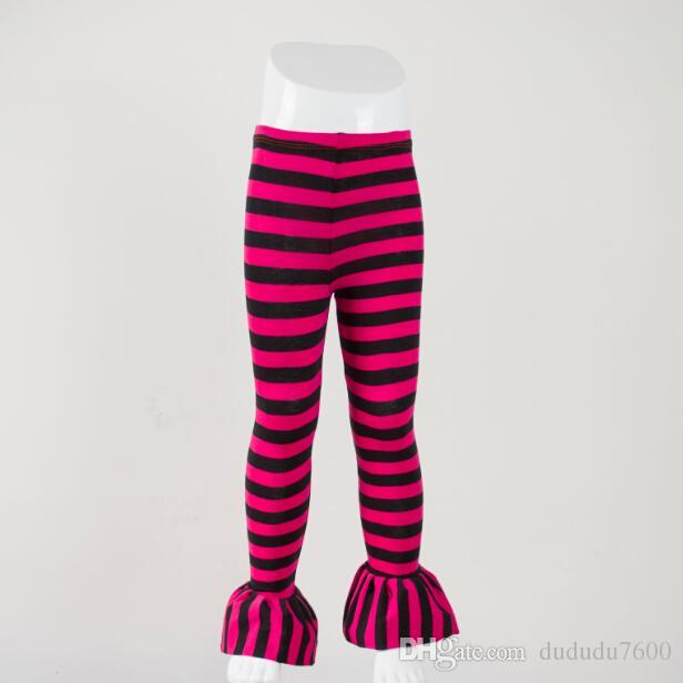 baby girls leggings children hot pink and black stripe single ruffle pants kids casual style beautiful full length pants