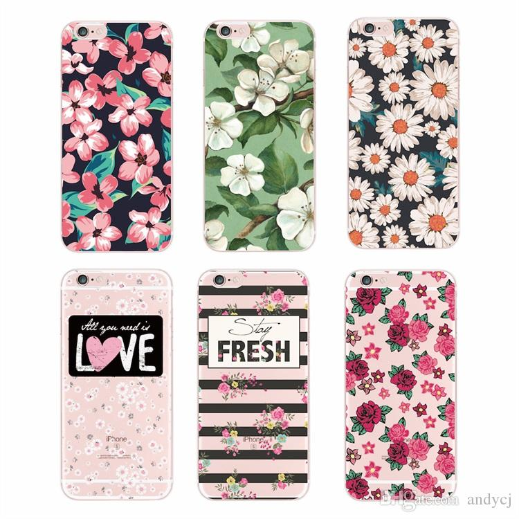 2016 Floral Flowers Rose Daisy Cherry Blossom Fashion Cute Soft TPU Printed case For iPhone 4 5 6 7 S Plus SE 5C