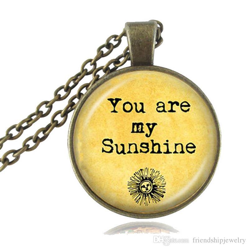 Sen Benim Sunshine Mektuplar Kolye Renkli Alıntı Kolye Kelimeler Takı Cam Cabochon Fotoğraf Gerdanlık Neckless Kadın Moda Aksesuarları