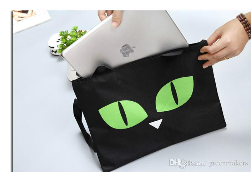 Kawaii Lovely Oreo cartoon Cat Canvas A4 Big Capacity Document Bag Business Briefcase Storage File Folder Papers Shopping Bag Gift