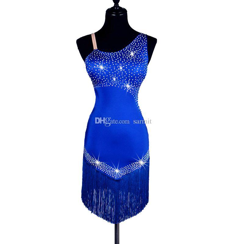 864f29e8dd Latin Dance Dress Women Luxury Rhinestones Latin Salsa Dance Competition  Dresses Samba Dance Costumes Customize D0218 Tassels Hem Backless