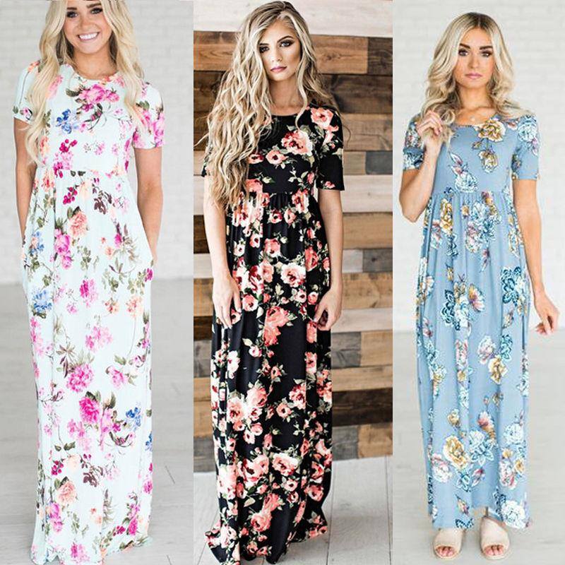 c78dd46b60 Womens BOHO Floral Long Evening Party Cocktail Ladies Summer Beach Maxi  Dress Crew Neck Full Length Sundress