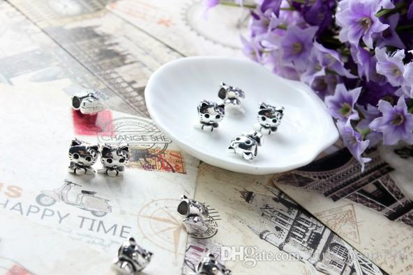30 European Silver Plated Big Hole Charms Spacer Loose Beads Fit Pandora Bracelets 925 Jewelry Little Cute Kitty for Sale Girls Mom Handmade