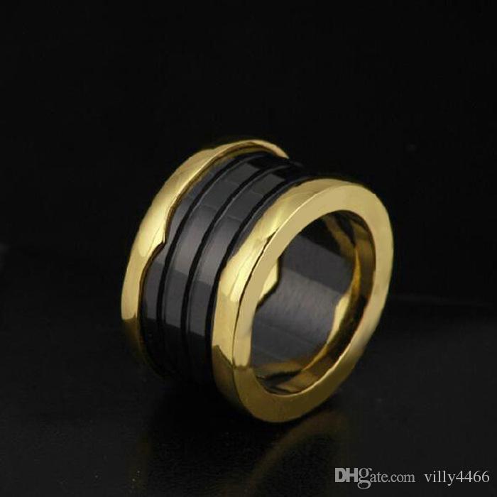 Llegada caliente de los sistemas nupciales de color blanco y negro especiales de anillos clásico anillo de oro Anillos Para la cerámica anillo 18k Rose titanio / versión amplia