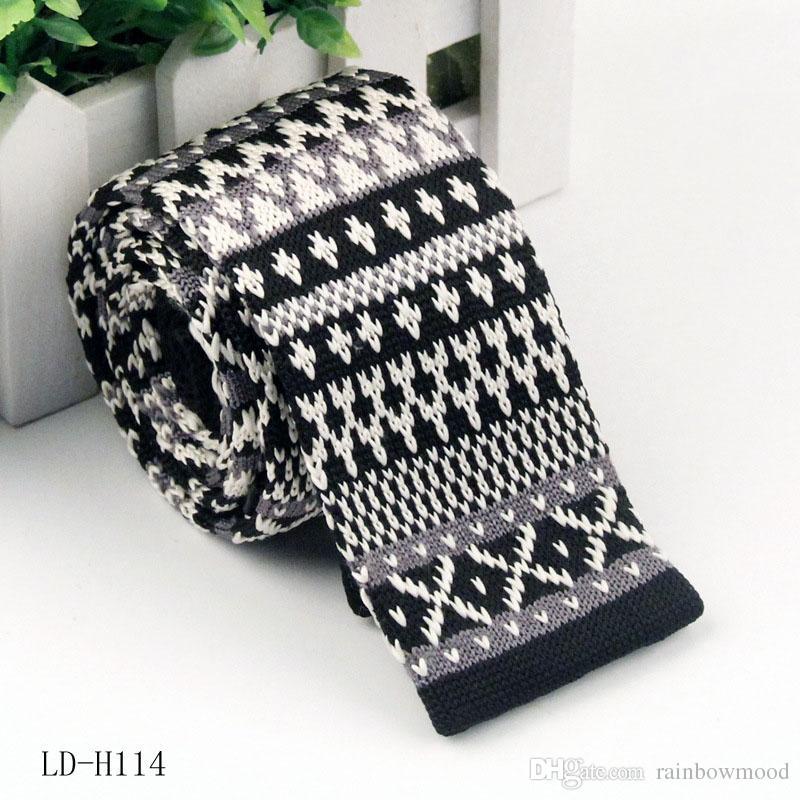 Corbata de punto para hombres cabeza plana ocasional Corbata de lana Estrecha Jacquard Corbata de punto Corbata de poliéster 11-19