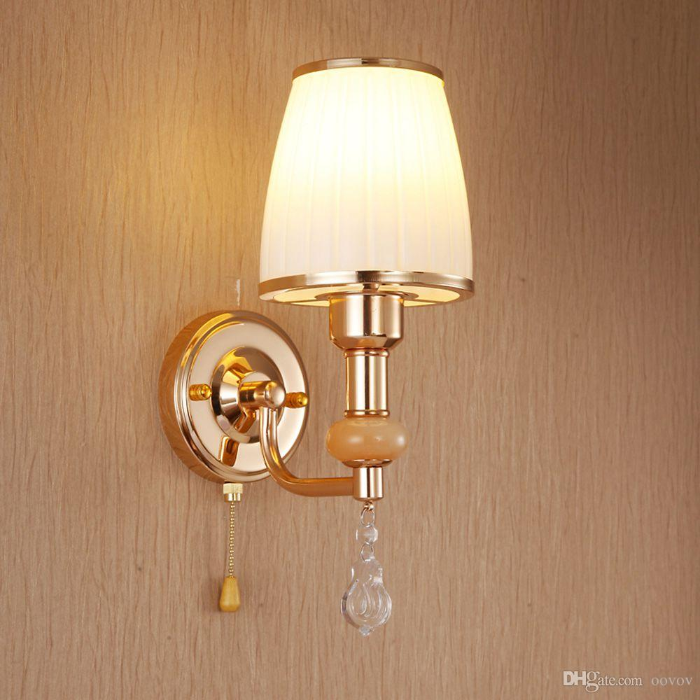 Fashion Glass Hallway Balcony Wall Lights Modern Living Room Wall Sconce Bedroom Bedsides Crystal Wall Lamp