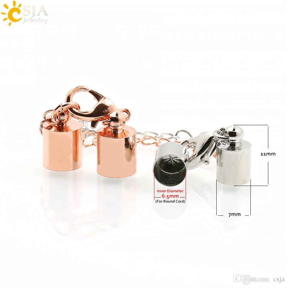 CSJA 6mm cord campanello in oro rosa placcato collana braccialetto connettore aragosta chiusura end cap risultati dei monili set catena e170