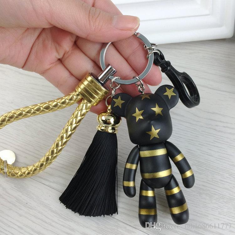 Fashion New Brand Leather Tassel Gloomy Bear Keychains Keyring For Women Bag Car Key Chain Trinket Jewelry Gift Souvenirs Llavero