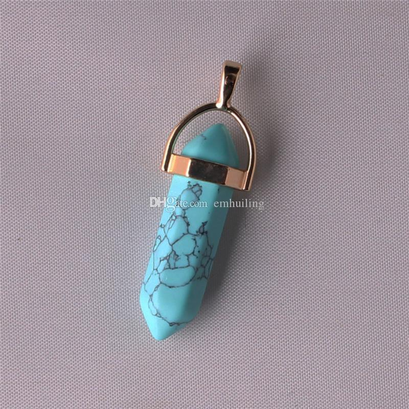 Marble Point Necklace White Howlite Black Turquoise Natural Stone Reiki Chakra Rock Green Zebra Jasper Marbleized Pendant Western Jewelry