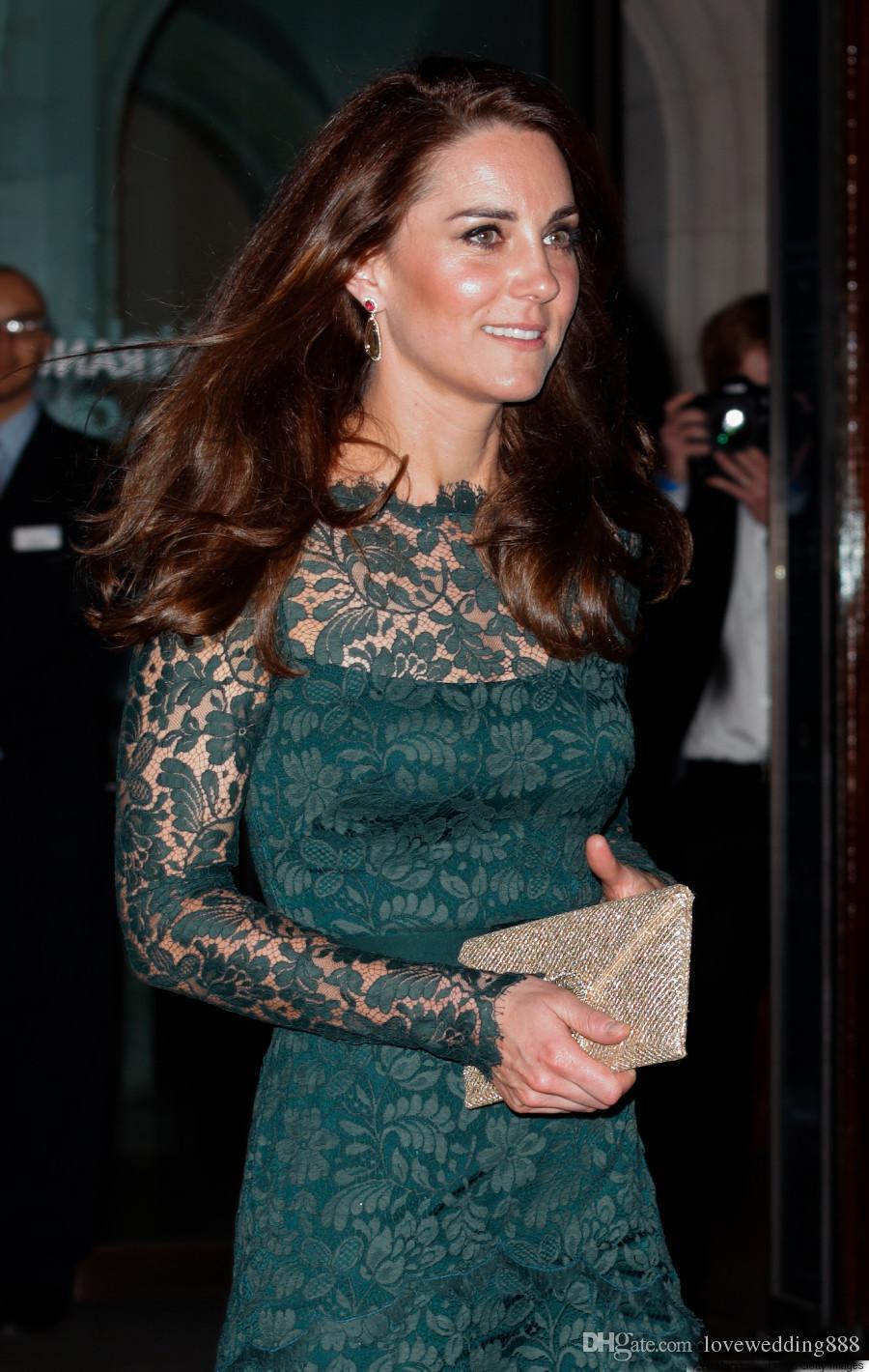 Kate Middleton Tam Dantel Kadınlar Abiye Gömme Uzun Kollu Sheer Bateau Boyun Kat Uzunluk Hunter Yeşil Resmi Ünlü Abiye