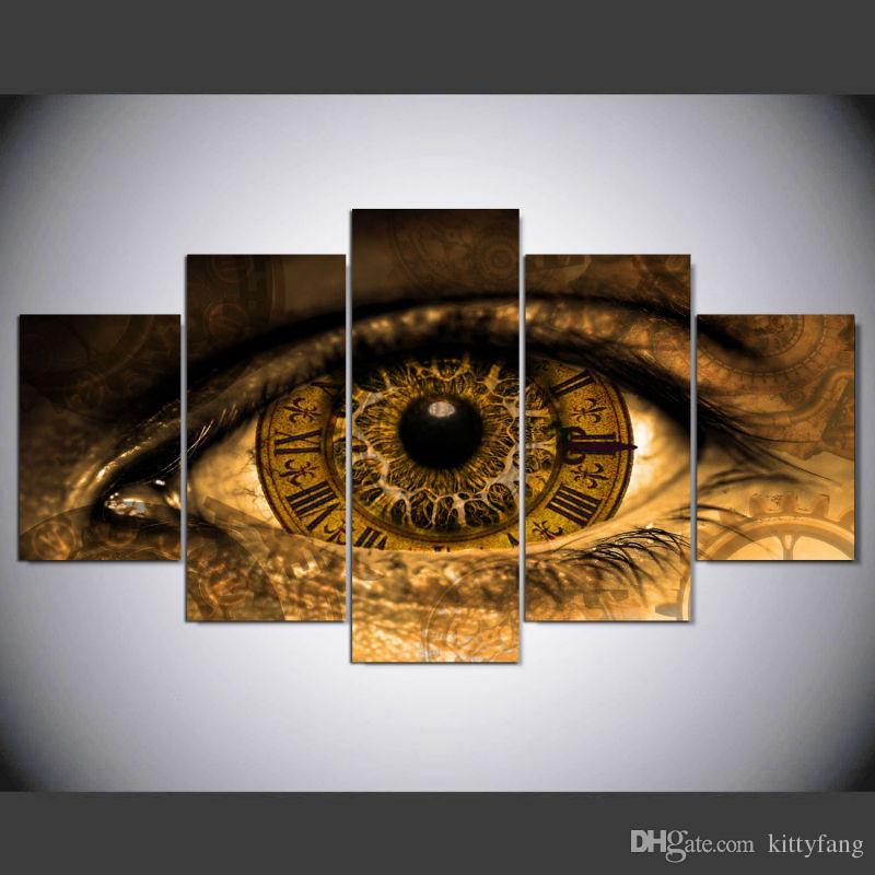 2019 5 Panel Modern Steampunk Eyes Art Print Canvas Art