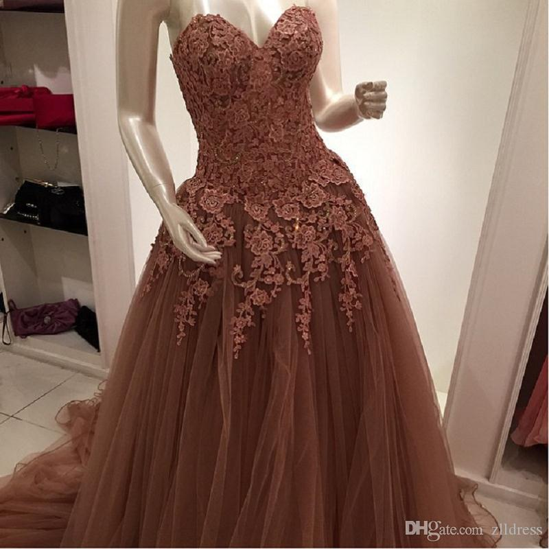 Brown Chocolate Mother Of The Bride Dresses A-line Tulle Sweetheart 2017 Evening Gowns Quality Custom Vintage Real Photo