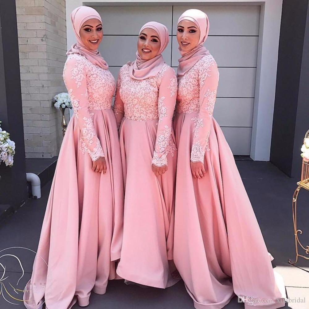 Pink Long Sleeves Muslim Evening Dresses 2018 Hijab Abaya Moroccan Kaftan Lace Appliques A Line Formal Prom Party Gown